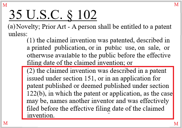 35 U.S.C. § 102(a)(2) precludes the granting of a patent where the claimed invention was disclosed in patent literature naming a different inventor prior its effective filing date.