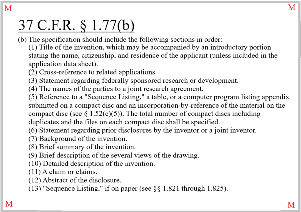 37 CFR 1.77(b) Sets Forth the Requirements for the Specification in a Non-Provisional Patent Application
